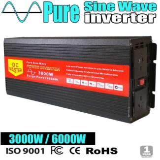 Pure Sine Inverter 3000W Max 6000W Camping Caravan Battery Power