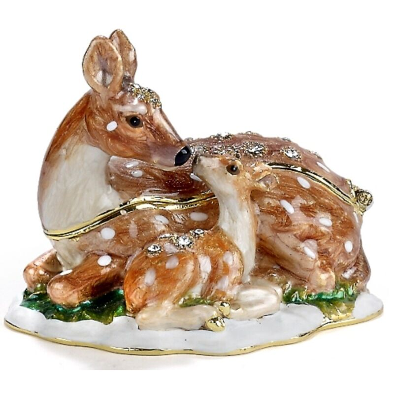 Deer and Fawn Bejeweled Enamel Jewelry Trinket Keepsake Box Container Animal New