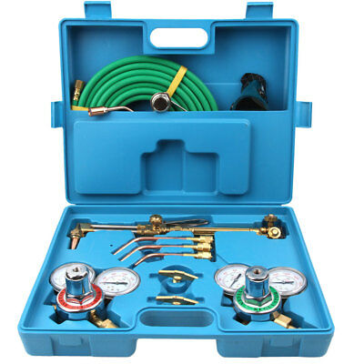 Gas Welding Cutting Welder Kit Oxy Acetylene Oxygen Torch W 15hose Case