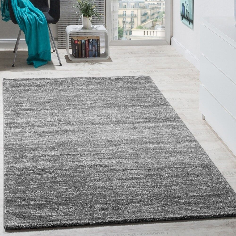 Teppich Modern Wohnzimmer Kurzflor Gemütlich Preiswert Meliert In Grau Creme