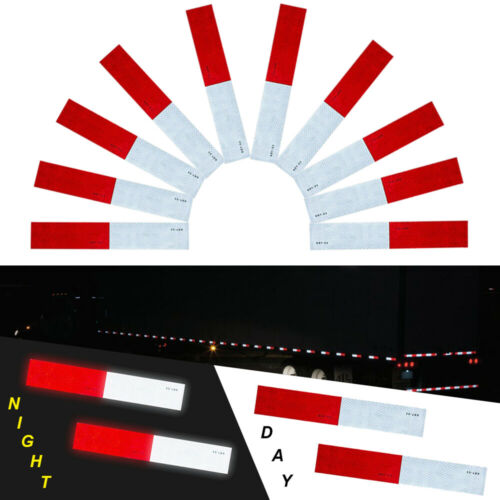 """10 pcs DOT-C2 Conspicuity Reflective Tape 2x12"""" Red White Strip Trailer RV Truck"""