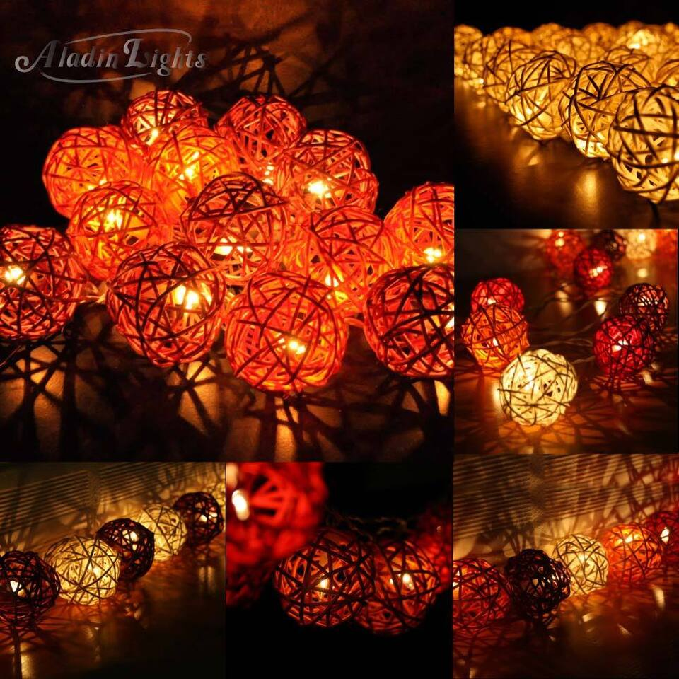 Aladin 20 Rattan/Wicker Balls Brown/Gold Tones String Lights,Fairy Home Decor UK