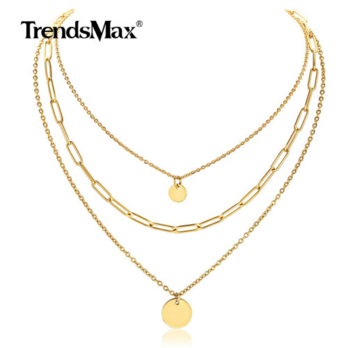 Yellow Gold Plated Stainless Steel Layered Necklace Rolo Lin