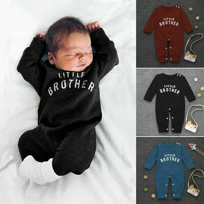 Newborn Infant Baby Boy Little Brother Long Sleeve Romper Pant Outfit Clothes US