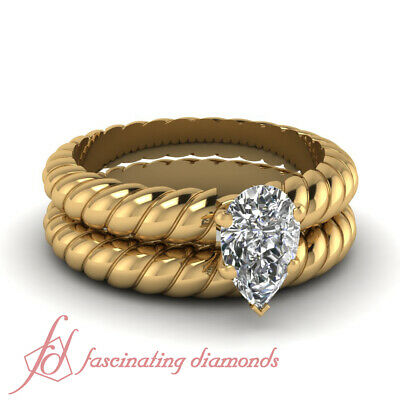 Pear Diamond Spiral Design Solitaire Engagement Rings And Ba