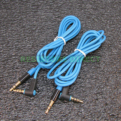 2x Blue High Quality Gold Plated 3.5mm Auxillary Cable Right Angle Audio S38 ()