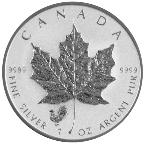 2017 $5 SILVER CANADIAN MAPLE LEAF ROOSTER PRIVY 1 OZ BRILLIANT UNCIRCULATED