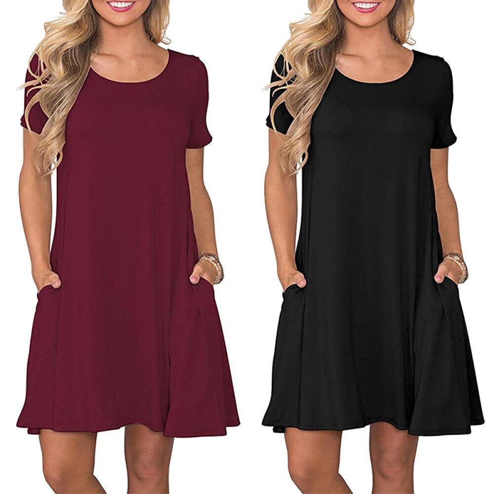 Womens Summer Casual T Shirt Dresses Short Sleeve Loose Swin