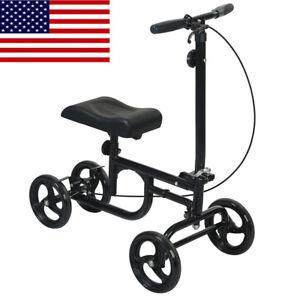ELENKER All-Road Knee Walker Steerable Madical Scooter Crutch Alternative Black