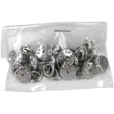 Bulk Nickel Plated Metal Clutch Pin Backs (25 Pack)