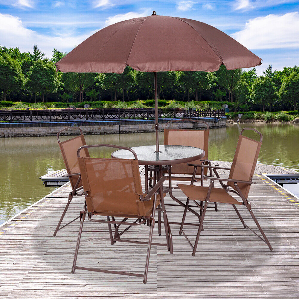 Garden Furniture - 6PCS Garden Patio Furniture Set Outdoor Brown 4 Seater Large Round Table Parasol