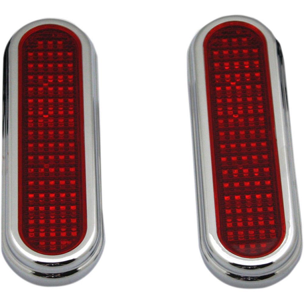 Custom Dynamics Flatz LED Lights  Super Bright Low Profile Chrome with Red Lens