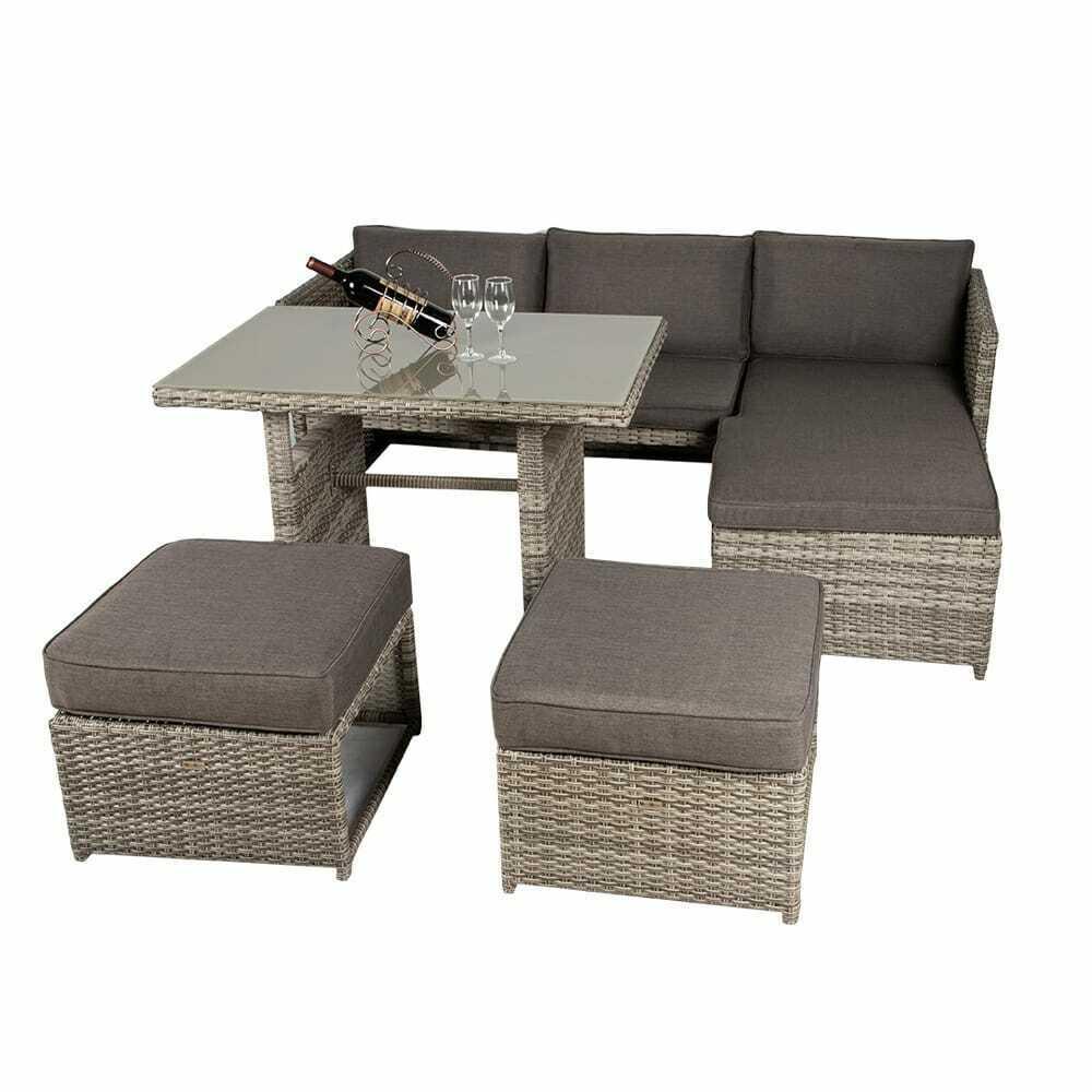 Garden Furniture - Rattan Garden Furniture Outdoor Dining Table Sofa Set With Grey Rattan And Grey