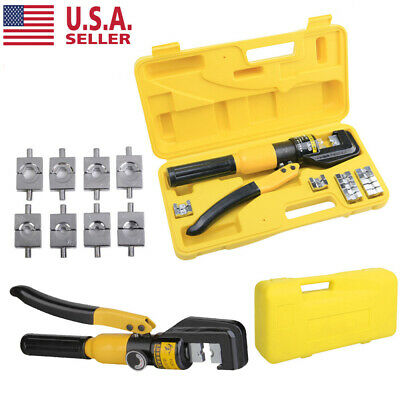8 Ton Hydraulic Wire Crimper W 9 Dies Battery Cable Lug Terminal Crimping Tool