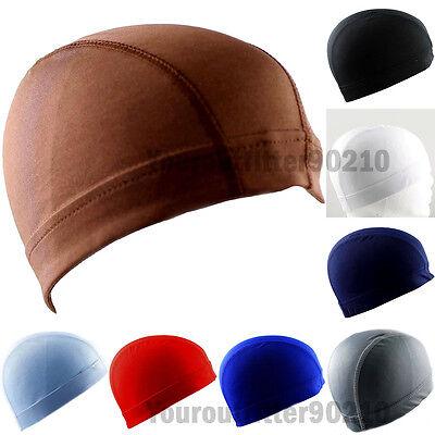 Spandex Beanie Dome Cap Hat Helmet Liner Sports Biker Moto FootBall Headwrap   - Spandex Hat