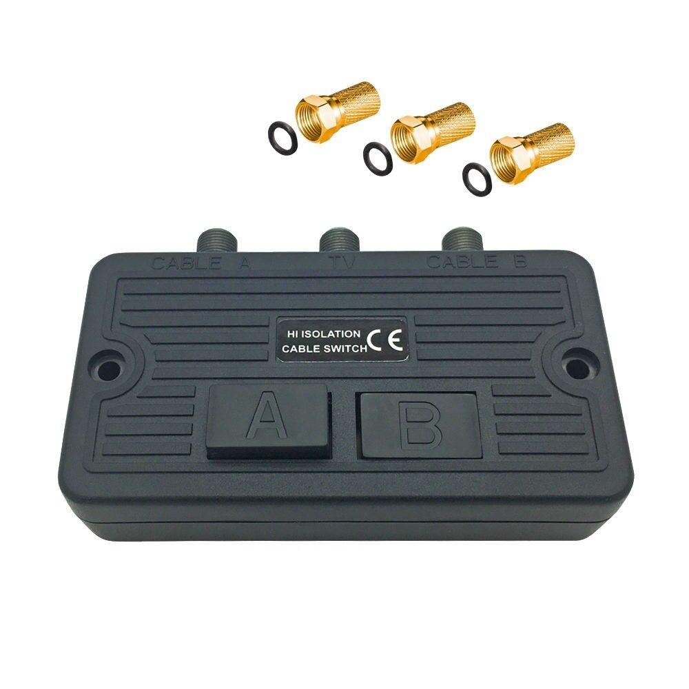 HD Umschalter BK Sat Schalter 3 x F Stecker Antennen Kabel UKW Verteiler Buchse