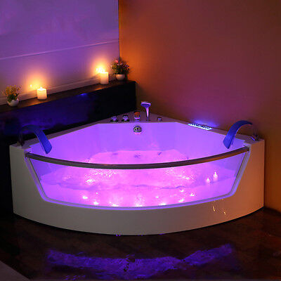 Whirlpool Corner Bath Shower Spa Jacuzzi Massage  2 person Double Bathtub 1410mm