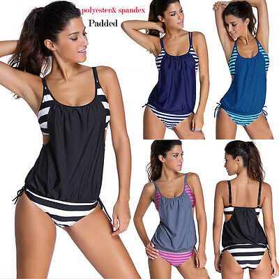 -  Plus Size Womens Swimwear Tankini Bikini Set Push up Padded Swimsuit Bathing