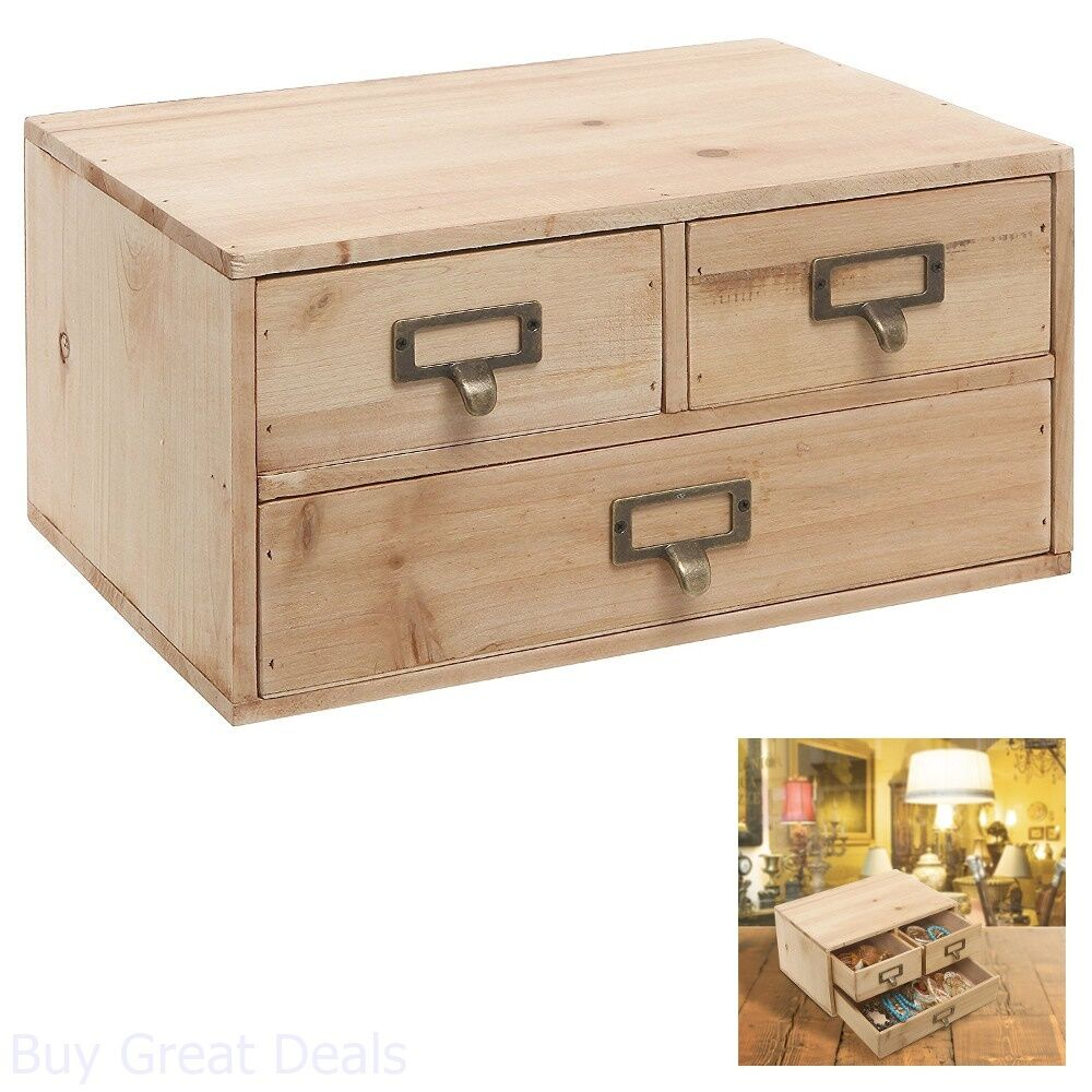 Cabinet Drawer Jewelry Wood Storage Small Rustic Office Organizer Decor New 887702198835 Ebay