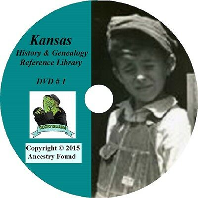 KANSAS - History & Genealogy - 230 old Books on DVD - Ancestors, County, CD, KS