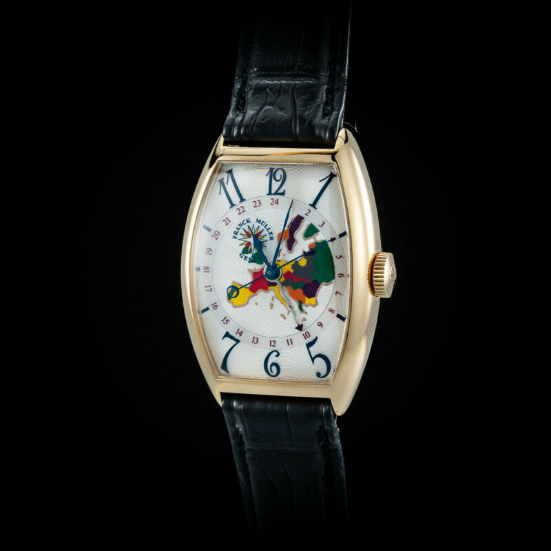 "Franck Muller 18K Rose Gold Cloisonne Enamel ""Europe"" GMT Watch. Rare. 5850 WW - watch picture 1"