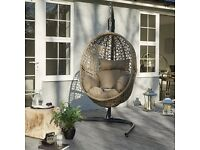 Brand New Luxurious Taupe Hanging All Weather Rattan Pod Swing Chair with Cushions and Steel Base