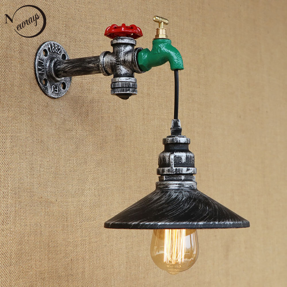 Retro Iron With Switch Steampunk Water Pipe Wall Lamps Light