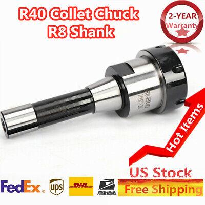 R8 Shank Er40 Chuck W 15pcs Collets Kit Suitable Fits Cnc Milling Lathe Tool