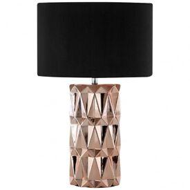 2 x Jaxon Copper Ceramic Table Lamp by Premier Housewares