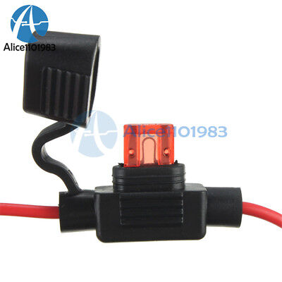 2PCS Waterproof Power Socket Mini Blade Type In Line Fuse Holders with 10A Fuse 10a Mini Blade Fuse