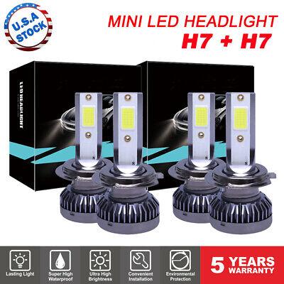 4PCS Mini H7 + H7 Combo LED Headlight Bulbs High Low Beam 240W 52000LM 6000K Kit