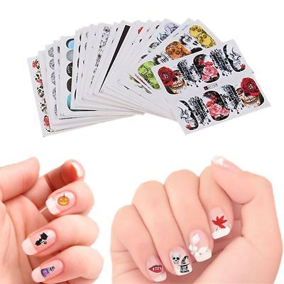 48Pcs Water Transfer Decals Manicure Decor Halloween Design Nail Art - Halloween Nail Design