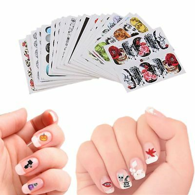 Nail Art Designs Halloween (48Pcs Water Transfer Decals Manicure Decor Halloween Design Nail Art)