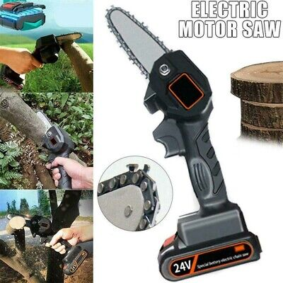 Black Chainsaw Rechargeable Small 4 inch 550W Saw One And Power One Charge UK 1X