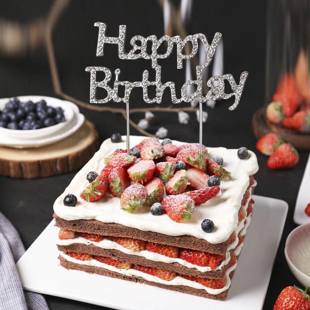 Happy Birthday Cake Pick Topper Diamante Rhinestone Sparkly Crystal