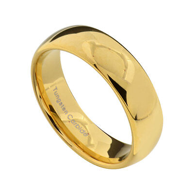 - 6mm Gold Plated Tungsten Men Women Wedding Band High Polish Dome Top Ring