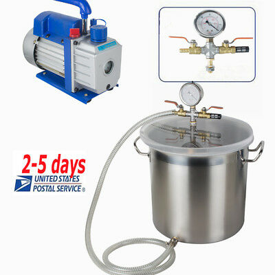 5 Gallon Stainless Steel Vacuum Degassing Chamber Kit W5 Cfm Pump Hose Farm Usa