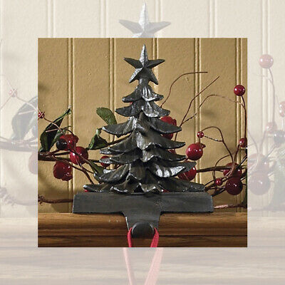 Christmas Tree Vintage Stocking Holder Hanger Heavy Cast Iron Park Designs ()