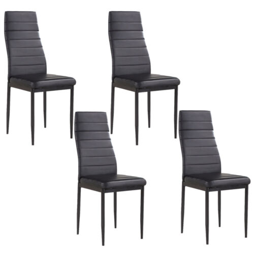 Set of 4 Stunning Black Dining Chairs Comfortable Leather Di