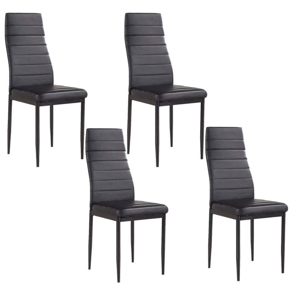 Details about Set of 4 Stunning Leather Dining Chairs kitchen Dining Room  Furniture Black