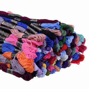 Lot 50 / 100pcs 100% Cotton Embroidery Sewing Thread Skeins Floss Mix Colours