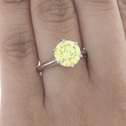 GIA Certified Diamond Solitaire Engagement Ring 1.24 CT Fancy Yellow Round 2