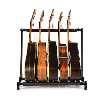 New Adjustable Height 5 Triple Folding Multiple Guitar Holder Rack Stand