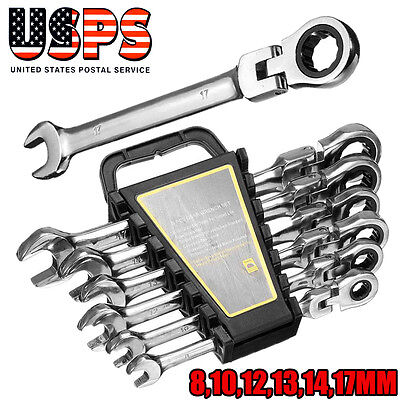 USPS Gear 6pc Metric Ratcheting Combination and Stubby Open End Wrench Set - Open End Ratchet Wrench