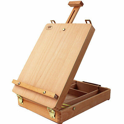 Classic Table Easel (Portable Artist's Durable BeechWood Paint Box Drawer Table Desktop Classic)