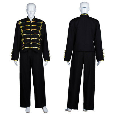 Men Michael Jackson Military Prince Cosplay Costume MJ Black Jacket Glove - Military Costumes For Men
