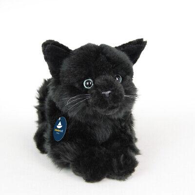 Stofftier liegende Katze schwarz, Kätzchen, Plüschtier, (L. ca. 28 cm)
