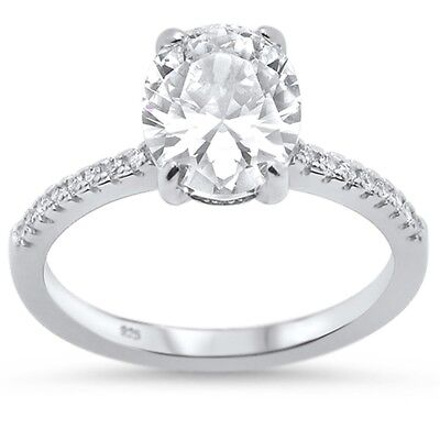Oval Cut Cubic Zirconia Engagement .925 Sterling Silver Ring Sizes (Oval Cut Cubic Zirconia Ring)