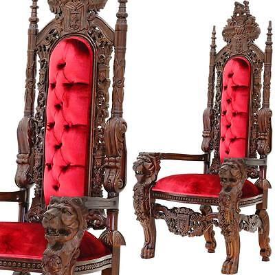 NEU MAHAGONI HOLZ KINGCHAIR LÖWEN STUHL ca.180cm KINGSIZE THRON SESSEL SITZMÖBEL
