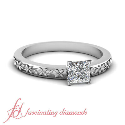 .51 TCW. Princess Cut Diamond Vintage Style Solitaire Engagement Ring SI2 GIA